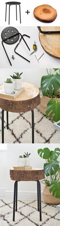 Ikea Hack con taburete y un tronco - burkatron.com - Wooden Stool Ikea Hack Ikea Stool, Ikea Table Hack, Ikea Side Table, Wood Stool, Wooden Side Table, Diy Side Tables, Bedside Table Ideas Diy, Wooden Table Diy, Ikea Hack Nightstand