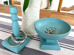 Jewelry holders using pieces bought at the thrift store and painted with chalky paint