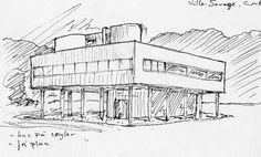 Sketch Villa Savoye by Jarand Midtgaard, via Flickr