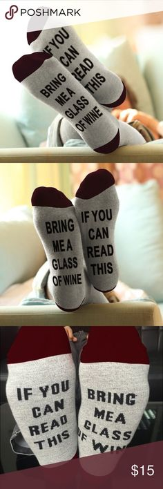 "Grey & Maroon Wine Socks 🍷 Brand new ""if you can read this get me a glass of wine"" socks in maroon and light grey. Accessories"