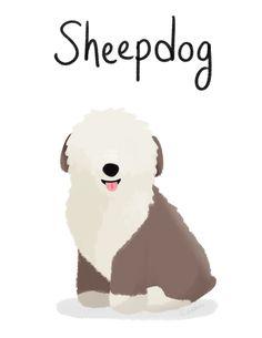 Sheepdog - Cute Dog Series Art Print