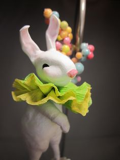 Paper clay and spun cotton rabbit.