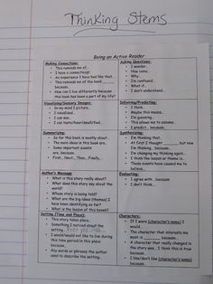 Thinking Stems - Reflection Sentence Starters - Teaching My Friends!: My Reading Notebooks