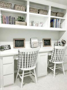 30+ Farmhouse Office Desk Ideas – FarmhouseMagz Home Office Design, Home Office Decor, Home Decor, Office Ideas, Office Designs, House Design, Built In Desk, Built Ins, Home Study Rooms