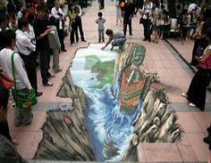 3D chalk drawing