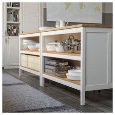 TORNVIKEN Kitchen island, off-white, oak. The TORNVIKEN series is ideal when you need more workspace, more storage ‒ more kitchen. Combine a kitchen island with shelves to create a rustic kitchen where you can cook together. Kitchen Island Trolley, Diy Kitchen Island, Kitchen Island Furniture, Urban Kitchen, Kitchen Island Built In Seating, Kitchen Storage Furniture, Kitchen Bookshelf, 60s Kitchen