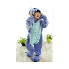 Kids Cute Cartoon Sleepwear Pajamas Cosplay Costume Animal Onesie Suit Fancy Dress Blue stitch