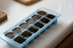 Left over coffee…Freeze it in an ice cube tray. Put in a blender with your favorite coffee creamer to make a frappuccino. LOVE this idea!