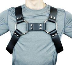 "1-3/4"""" Wide Black Leather Fashion Bulldog Harness"