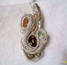 Imperial Topaz Crystal Fire Agate Sphene .925 Sterling Silver Wire Wrap Pendant #HeadyWireWrap #ImperialTopaz #MexicanFireAgate