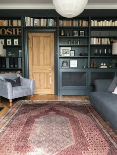 New Absolutely Free Fireplace Remodel with shelves Style Persian rug, pine door, painted shelves, living room, Farrow and Ball Down Pipe Dark Living Rooms, Living Room With Fireplace, Living Room Chairs, Rugs In Living Room, Living Room Decor, Farrow And Ball Living Room, Barn Living, Cozy Living, Room Rugs