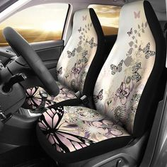 Tan Zebra High Back buckets 5PC set front Seat Covers.