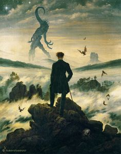 """Dreamer Above the Mist"" Based on this painting by Caspar David Friedrich. (Nyarlathotep borrowed from the Field Guide to Cthulhu Monsters.)"