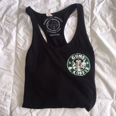 Guns - n - Coffee Tank -I cannot remember exactly where this shirt is from but the design is meant to look as if it is old & scratched off like that. Tops Tank Tops