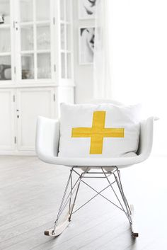 Via Fru Fly | Yellow and White | Cross Pillow |  Eames Rocker | Nordic Scandinavian