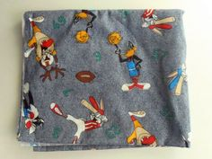 "Looney Tunes 77"" x  46"" Children Fabric / Cartoon Sewing Supply / Baseball Sport Football by RecycledUpcycledEtc on Etsy"