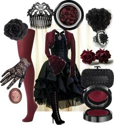 maledictus-amor:    wifetodarkness:    petticoatsandparlipro:    3 - Gothic by blondala95  A Gothic coordinate for those days when the sun is just too bright.    This is breath taking <3    Argh, I love deep red. I want at least half of what is shown here.