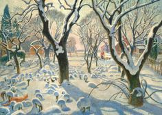 "Oil painting from the Fine Art collection. ""Winter Magic"" by Adrian Paul Allinson, showing a snow covered landscape with bare trees and a fox in the bottom left-hand corner. In the distance a woman is feeding chickens. c.1923-1924."