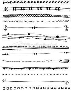 {Zentangle} Hand-drawn line border set Royalty Free Stock Vector Art Illustration Doodle Designs, Doodle Patterns, Zentangle Patterns, Hand Drawn Border, Doodle Borders, Do It Yourself Inspiration, Doodle Lettering, Doodles Zentangles, Doodle Drawings