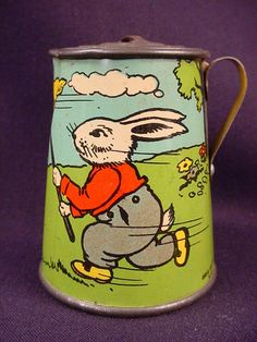 Rarest Ohio Tin Tea Set with Peter Rabbit pattern, collection created by Vintage Tins, Vintage Love, Vintage Antiques, Retro Vintage, Childrens Tea Sets, Tin Toys, Metal Toys, Vintage Easter, Antique Toys