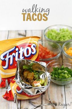 Try these walking tacos for a fun twist on dinner! Try these walking tacos for a fun twist on dinner! Camping Party Foods, Camping Meals, Kids Meals, Camping Parties, Mexican Food Recipes, Snack Recipes, Dinner Recipes, Cooking Recipes, Dinner Ideas