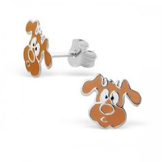 Sterling Silver dog earrings by Girl Almighty. High quality earrings, jewellery and accessories for girls. Pretty sterling silver dog studs for pierced ears. Animal Earrings, Stud Earrings, Sterling Silver Earrings Studs, Silver Rings, Brown Dog, Kids Jewelry, Beautiful Gift Boxes, Girls Accessories, Dog Design