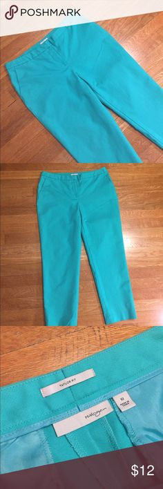 Halogen tailor fit green mint  pants This is a pair of green mint blue trousers from halogen, tailor fit, front zipper and clasp closure, front side pockets, to back fake pockets, stretch material, waist 34 inches, inseam 25 inches. Good condition minor wear, Minor fades. Last picture shows more accurate color in natural lighting. Be sure and check out other items in closet and bundle to receive discounts. Halogen Pants