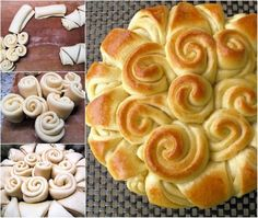 Happy Holiday Bread - This looks so easy to do! Make dough in the bread machine and take it out to cut & bake. Comida Judaica, Holiday Bread, Festive Bread, Bread Rolls, Dinner Rolls, Bread Baking, Bread Food, Love Food, Foodies