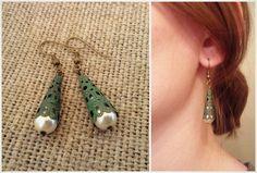HANDMADE Patina Drop Earrings with Pearls ($12)