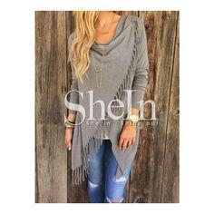 SheIn(sheinside) Grey Long Sleeve Tassel Sweater (120 PLN) via Polyvore featuring tops, sweaters, fringe sweater, grey long sleeve sweater, long sleeve tops, long sleeve sweaters and asymmetrical sweater