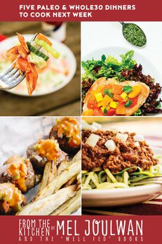Looky here! Dinner is solved. Five Paleo Dinners to Cook Next Week: Buffalo Chicken Chopped Salad, Chicken Paillard with Onion-Pepita Relish, Bacon-Jalapeno Burger Balls, Cincinnati Chili, and Beef Stew Provencal! Paleo and Whole30 compliant. via @meljoulwan