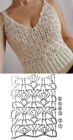 10 modelos de blusa de crochê com gráfico do ponto ⋆ De Frente Para O Mar # Вязание крючком Débardeurs Au Crochet, Pull Crochet, Mode Crochet, Crochet Shirt, Crochet Woman, Crochet Cardigan, Crochet Vests, Crochet Stitches Patterns, Crochet Designs