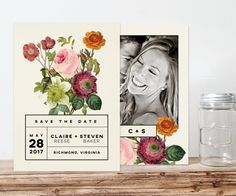 Items similar to modern floral wedding save the date card, printable save the date, black and white floral save the date, digital file, save the date magnet on Etsy Floral Wedding Save The Dates, Modern Save The Dates, Save The Date Magnets, Save The Date Cards, Some Ideas, Beautiful Gardens, Wedding Details, Wedding Inspiration, Dating