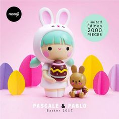 A super-cute Easter gift! Join the egg hunt with Pascale & Pablo. Momiji are message dolls. Inside each one there's a tiny folded card for your own handwritten message, dream or wish. Limited Edition release of 2000 pieces. Momiji Doll, Kokeshi Dolls, Somebunny Loves You, 3d Rose, Modelos 3d, Baby Sewing Projects, Mascot Design, Clothespin Dolls, Cute Toys
