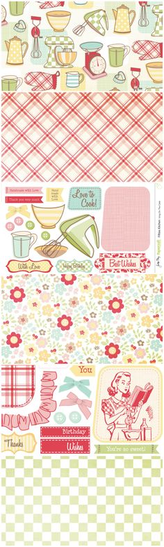 Add a sweet retro feel to your cards with these Fifties Kitchen free digital papers for card making and scrapbooking! Printable Recipe Cards, Printable Paper, Printable Stickers, Free Printables, Planners, Recipe Scrapbook, Free Paper, Digital Paper Free, Pattern Paper