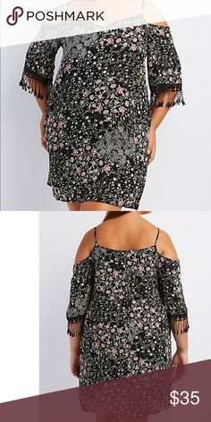 """Printed crochet trim cold shoulder dress 3X Lightweight woven fabric is decorated in a wonderful floral print for the cutest little shift dress! Skinny spaghetti straps sit above a V-neckline, while short sleeves flutter below for a cool cold shoulder look. Crochet fringe adds a great boho finish to the cuffs! Missing tags  Product Model Size: Model is 5'9"""" tall Product Fit: Model is wearing size 1X. Size 1X measures 36"""" from top to hem. Product Care: polyester Dresses Mini"""