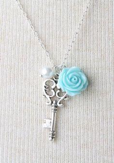 Key Necklace, Blue Rose Necklace