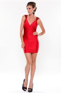 Ruched V-Neck Dress With Sequin Straps - Party-ready short dress by Atria 7074 has a ruched bodice with v-neckline and sequin straps.