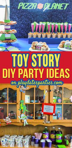 Take a Look at this Real Life DIY Toy Story Party is part of Toy story party - What a fun Toy Story party! It's full of DIY ideas and special touches you can easily make on your own, including a Pizza Planet buffet and easy games! Toy Story Party, Toy Story Theme, Festa Toy Story, Toy Story Birthday, Buzz Lightyear, Toy Story Decorations, Diy Party Decorations, Birthday Decorations, Pizza Planet