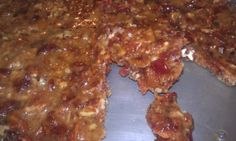 Bacon Brittle.  That's right BACON Brittle.  No Peanuts.  Bacon, Pecans, Chipotle Powder, Karo Syrup & Sugar.  Good stuff!