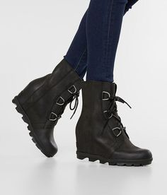 Sorel Joan Of Arctic™ Leather Wedge Boot - Women's Shoes in Black Cute Boots, Sexy Boots, Lace Up Boots, Black Boots, Sorel Wedge Boots, Sorel Joan Of Arctic, Winter Boots Outfits, Shoe Size Conversion, Leather Wedges