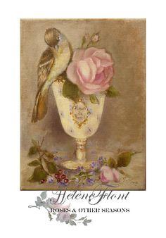 """Paris sign """"Fleur de Paris"""" with a  Rose & a little sparrow by Helen Flont"""