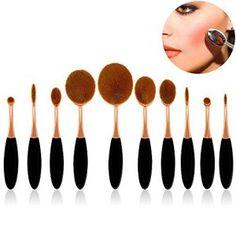 Pinceaux Maquillage 10 Pièces, Sunroyal® Outil de Maquillage Kits Brosse à Dents Ovale Cosmétiques Professionnels pour les Poudres,…