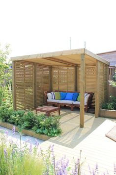 A contemporary garden shelter from Jacksons Fencing. A timber structure - with a 25 year guarantee A contemporary garden shelter from Jacksons Fencing. A timber structure - with a 25 year guarantee Diy Pergola, Outdoor Pergola, Wooden Pergola, Backyard Patio, Pergola Shade, Corner Pergola, Pergola Lighting, Cheap Pergola, Wooden Garden Gazebo