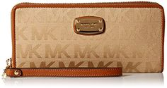 Michael Kors Jet Set Item Travel Continental Wallet Wristlet Large travel wallet wrapped in monogram print fabric with golden tone hardwareZip around style with logo gold tone plate on the front updated for 2015 with rounded cornersLeather and logo print fabric interior features (16) card slots and a clear ID slot  http://dailydealfeeds.com/shop/michael-kors-jet-set-item-travel-continental-wallet-wristlet/
