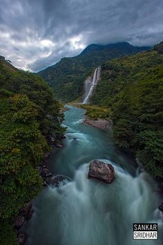 Green, white, grey - The Jung falls in Arunachal Pradesh India