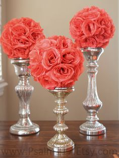 3 - 8 inch wide - CORAL - wedding pomanders - you choose ribbon color. $45.00, via Etsy.