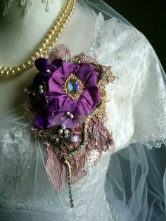 Textile Jewelry, Jewelry Art, Textile Art, Fabric Flower Brooch, Fabric Flowers, Whimsical Dress, Gypsy Rose, Purple Necklace, Gold Silk