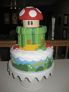 My first fondant cake, Mario style! photo by RetroOnTheDownLow