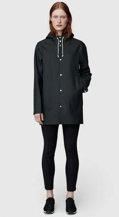 20ba4960d1e Stutterheim Stockholm Black Raincoat – Stutterheim Raincoats Hooded  Raincoat, Raincoat Outfit, Black Raincoat,